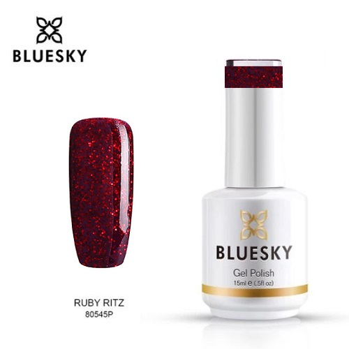 BLUESKY Esmalte Gel 80545 Burdeo Glitter rojo