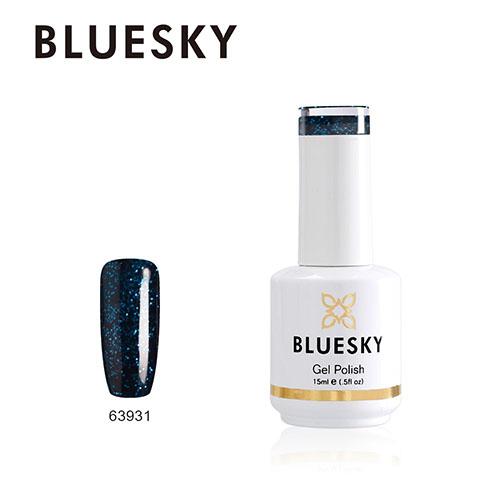 BLUESKY Esmalte Gel 63931 Negro Glitter pequeño azul-calipso