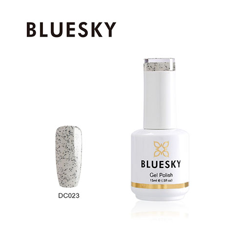 BLUESKY Esmalte Gel DC23 Blanco con glitters negros