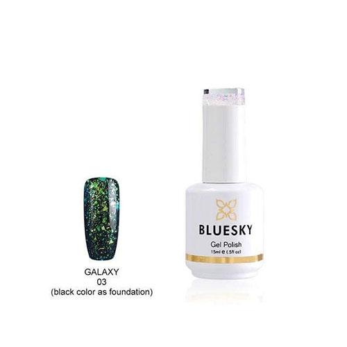 BLUESKY Esmalte Permanente Galaxy 03  Esmalte Transparente con Papel metálico tornasol  Verde - Turquesa