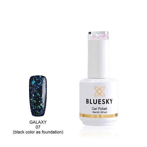 BLUESKY Esmalte Permanente Galaxy 07  Esmalte Transparente con Papel metálico tornasol  Verde Turquesa - Celeste