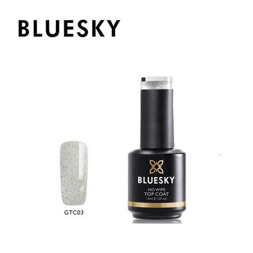 BLUESKY Esmalte Gel Top Coat Sin capa de inhibición GTC03 con microglitter